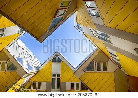 Rotterdam The Netherlands -May 11 2017: Modern Buildings City Architecture Design Elements Known as Cubic Houses Designed by Piet Blom in Rotterdam City Center in May 11 2017 in Rotterdam The Netherlands. Horizontal Image