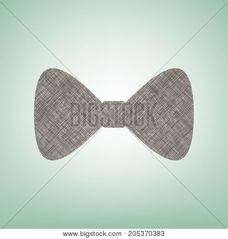 Bow Tie icon. Vector. Brown flax icon on green background with light spot at the center.