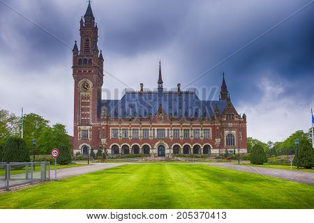 Travel Consepts. Peace Palace in Den Haag (Hague) as a Symbol of International Court of Justice. HDR Image. Horizontal Image Composition