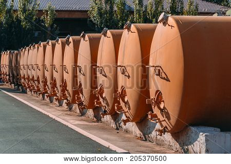 the prospect of large metal barrels at the factory