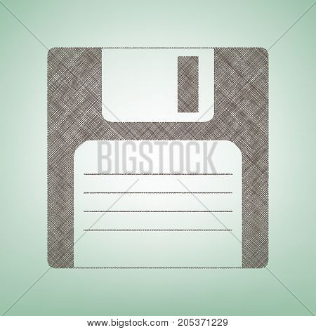 Floppy disk sign. Vector. Brown flax icon on green background with light spot at the center.