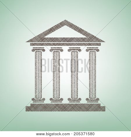 Historical building illustration. Vector. Brown flax icon on green background with light spot at the center.