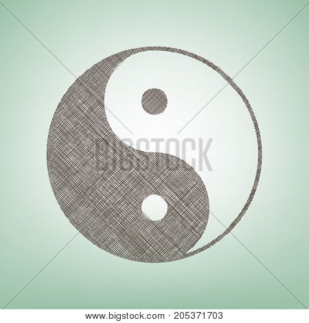Ying yang symbol of harmony and balance. Vector. Brown flax icon on green background with light spot at the center.