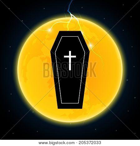 Halloween Coffin Moon Thunderbolt Lightning