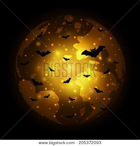 Halloween Flying Bat World Globe Earth Background