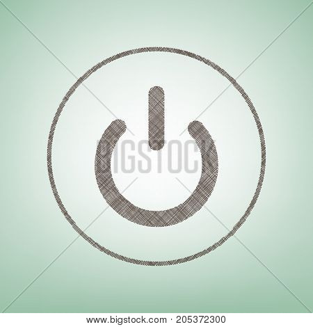 On Off switch sign. Vector. Brown flax icon on green background with light spot at the center.