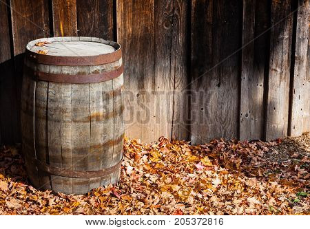 Rustic vintage wooden barrel by barn wall standing on dry autumn leaves on ground.