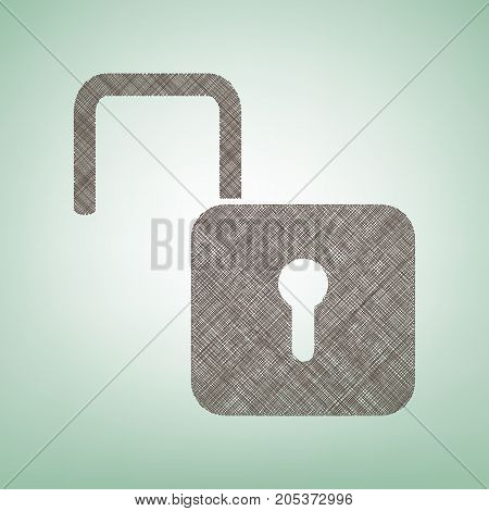 Unlock sign illustration. Vector. Brown flax icon on green background with light spot at the center.