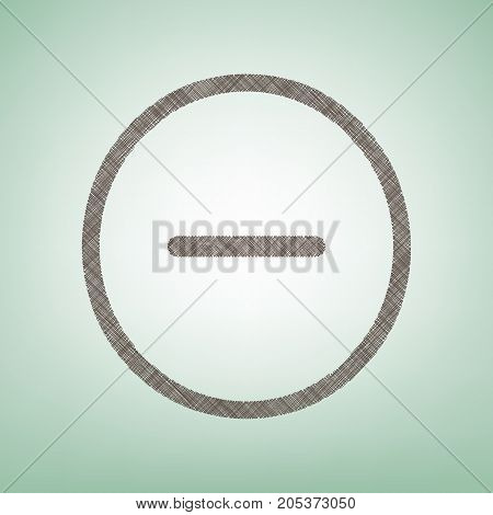 Negative symbol illustration. Minus sign. Vector. Brown flax icon on green background with light spot at the center.