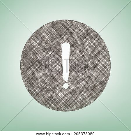 Exclamation mark sign. Vector. Brown flax icon on green background with light spot at the center.