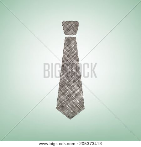 Tie sign illustration. Vector. Brown flax icon on green background with light spot at the center.