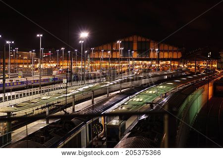 FRANCE, PARIS - 12th of OCTOBER, 2012: Train station Gare du Nord at night, Paris. October 12th, 2012. Paris, France.