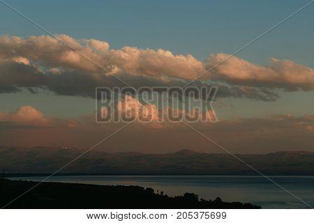 Lake Sevan, Armenia. horizontal shot in the evening