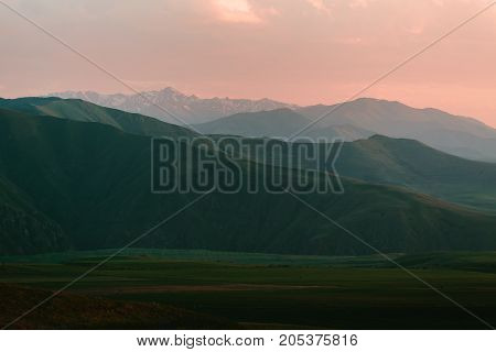 mountains of Armenia on the Sunset. horizontal shot