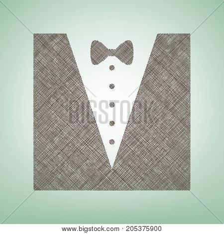 Tuxedo with bow silhouette. Vector. Brown flax icon on green background with light spot at the center.