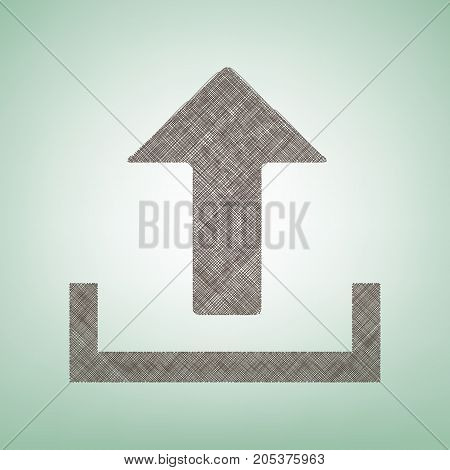 Upload sign illustration. Vector. Brown flax icon on green background with light spot at the center.
