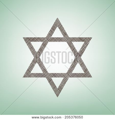 Shield Magen David Star. Symbol of Israel. Vector. Brown flax icon on green background with light spot at the center.