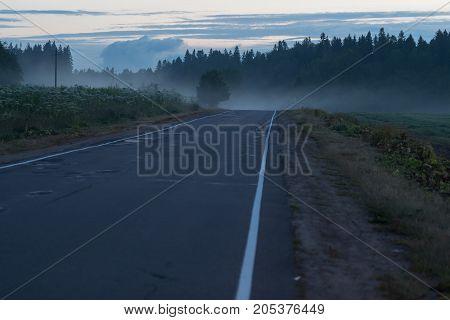 morning desert country road. horizontal shot terrible atmospheric
