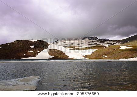 High mountain lake Kari, Aragats Armenia. horizontal shot
