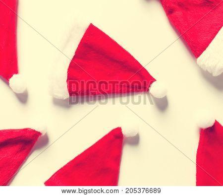 Santa hats flat lay Christmas background theme