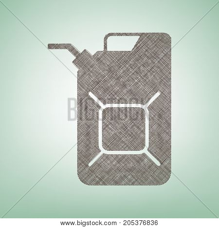 Jerrycan oil sign. Jerry can oil sign. Vector. Brown flax icon on green background with light spot at the center.