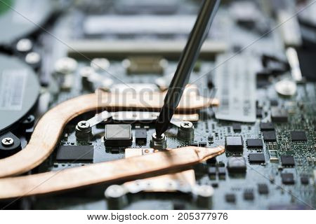 Close up of screwdriver over the electronic motherboard to repair selective focused.