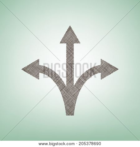 Three-way direction arrow sign. Vector. Brown flax icon on green background with light spot at the center.