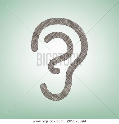 Human anatomy. Ear sign. Vector. Brown flax icon on green background with light spot at the center.