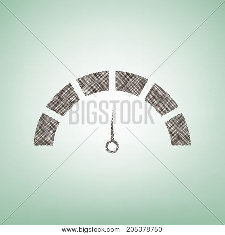 Speedometer sign illustration. Vector. Brown flax icon on green background with light spot at the center.