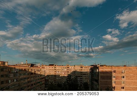 Old high-rise buildings in Yerevan, Armenia. horizontal shot