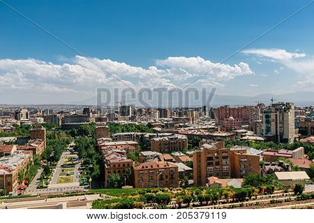 Yerevan, Armenia panorama of the city on a nice sunny day in summer
