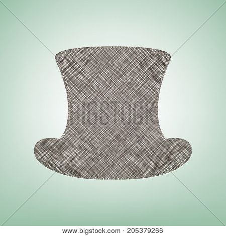 Top hat sign. Vector. Brown flax icon on green background with light spot at the center.