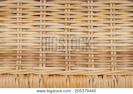 Background Pattern Brown Square Handicraft Weave Texture Wicker of Rattan Plant for Furniture Material.