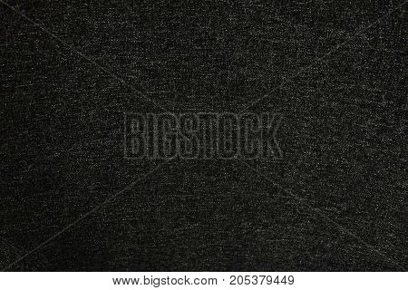 Textile Texture Close Up of Black Fabric Pattern Background with Copy Space for Text Decorated.