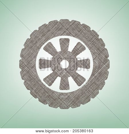 Road tire sign. Vector. Brown flax icon on green background with light spot at the center.