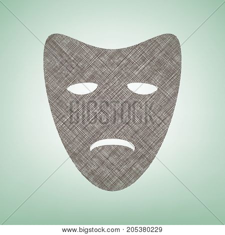 Tragedy theatrical masks. Vector. Brown flax icon on green background with light spot at the center.