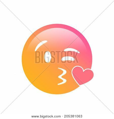 The isolated gradient smiley face with kissing mouth icon