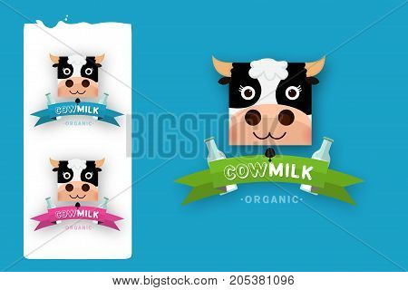 Milk elegant vector logo template. Label sticker icon. Symbol for milk and skim. Web graphics banners advertisements brochures business templates. Isolated on a blue background
