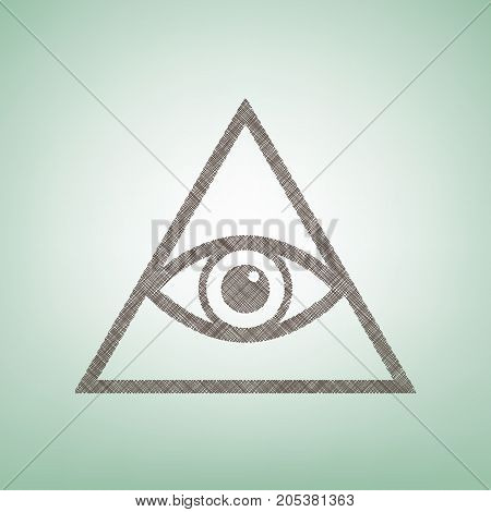 All seeing eye pyramid symbol. Freemason and spiritual. Vector. Brown flax icon on green background with light spot at the center.