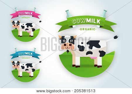 Milk elegant vector logo template. Label sticker icon. Symbol for milk and skim. Web graphics banners advertisements brochures business templates. Isolated on white background