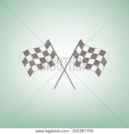 Crossed checkered flags logo waving in the wind conceptual of motor sport. Vector. Brown flax icon on green background with light spot at the center.
