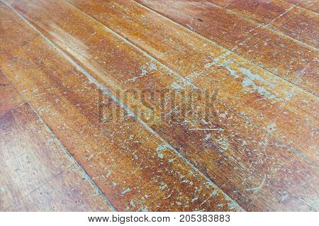 Damaged Seasoned Wooden Floor Plank With Scratch Marks Needs Restoration