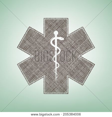 Medical symbol of the Emergency or Star of Life with border. Vector. Brown flax icon on green background with light spot at the center.