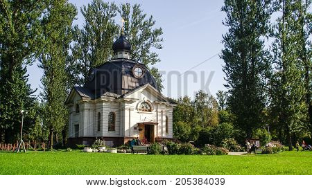 St. Petersburg - September 23, 2017: white, orthodox church