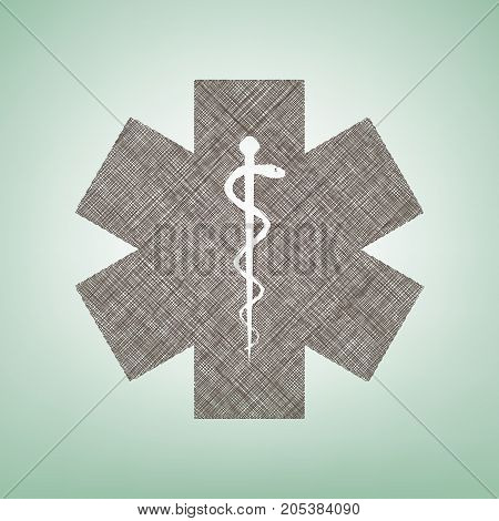 Medical symbol of the Emergency or Star of Life. Vector. Brown flax icon on green background with light spot at the center.