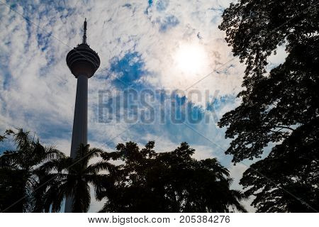Kuala Lumpur,  Malaysia, September 16, 2017: Kl Tower Is The Seventh-tallest Tower In The World By P