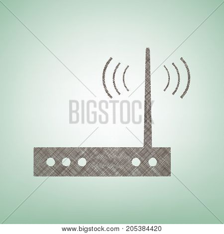 Wifi modem sign. Vector. Brown flax icon on green background with light spot at the center.