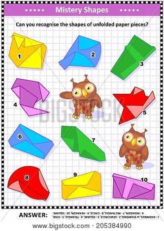 IQ training visual puzzle (suitable both for kids and adults): Can you recognize the shapes of unfolded paper pieces? Answer included.