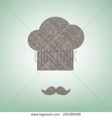 Chef hat and moustache sign. Vector. Brown flax icon on green background with light spot at the center.