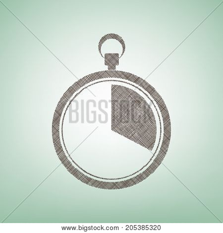 The 20 seconds, minutes stopwatch sign. Vector. Brown flax icon on green background with light spot at the center.